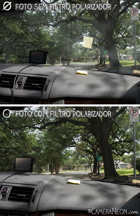 Filtro polarizador; câmera; foto; fotografia; como tirar fotos; acessórios para fotografia; windshield; para-brisa; GPS