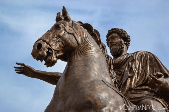 cavaleiro, cavalo, escultura, estátua de bronze, homem, imperador romano, Marcus Aurelius, Piazza del Campidoglio, Roma
