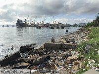 Garbage washed on the shore of Guanabara Bay